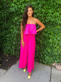 Neon Pink Tube Top Jumpsuit