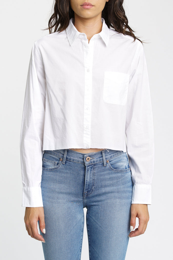 Sloane Long Sleeve Cropped Button Front - Blanc