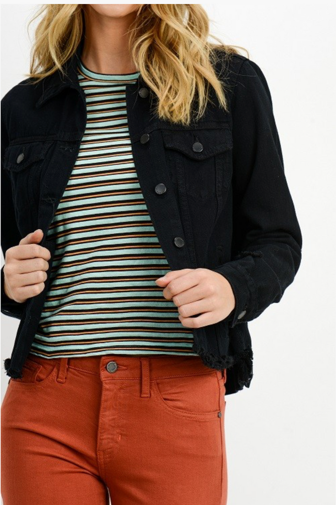 CUT OFF WAIST DENIM JACKET