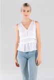 V-Neck Double Tiered Waist Sleeveless Top