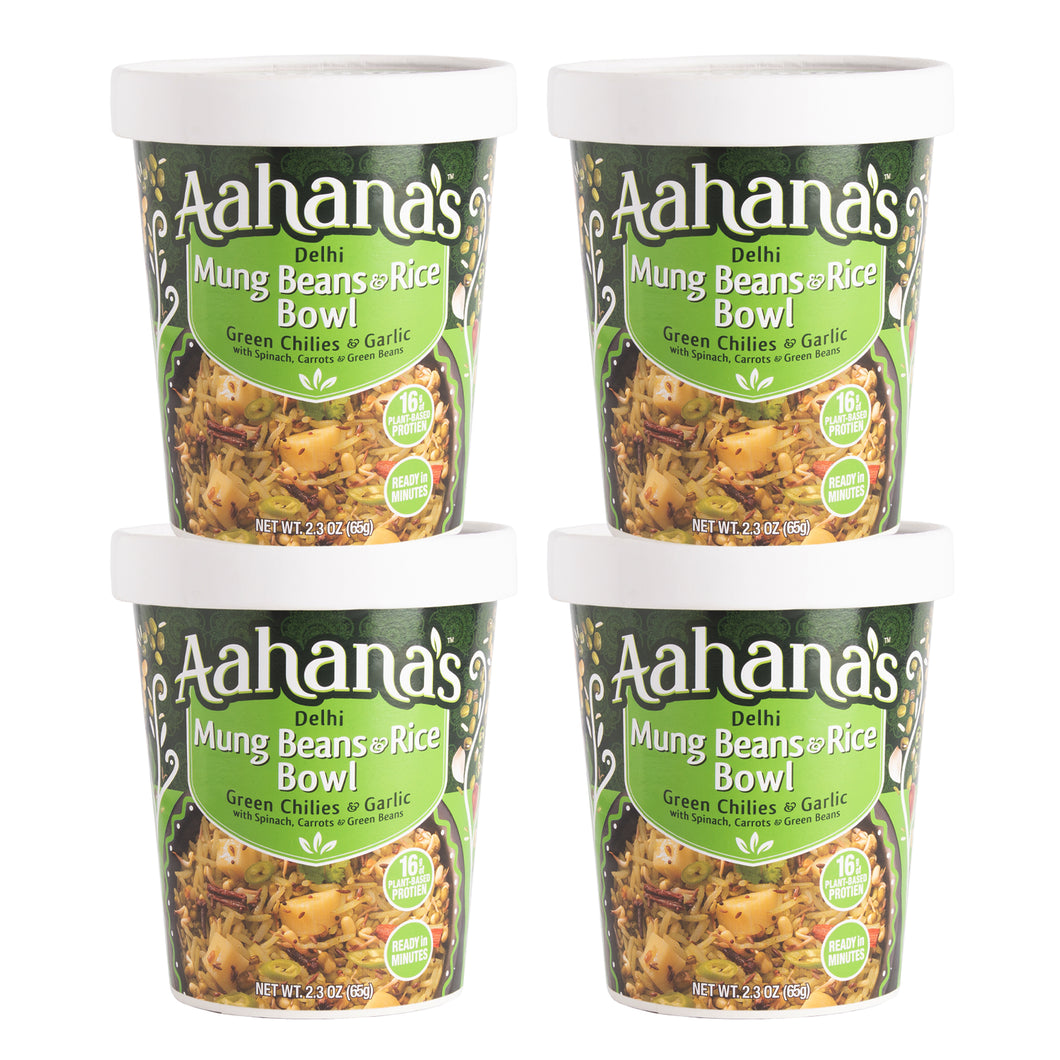 Aahana's Delhi Mung Beans & Rice Bowl (Khichdi) - Gluten-Free, 16g Plant-Based Protein, Vegan, Non-GMO, Ready-to-Eat Meal (2.3oz., Pack of 4)