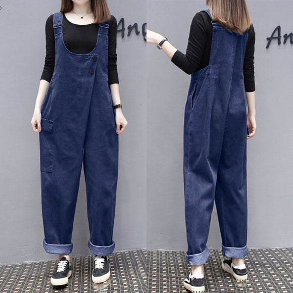 ZANZEA 2020 Women's Summer Jumpsuits Stylish Denim Blue Overalls Casual Strap Rompers Female Button Harem Pants Plus Size Turnip