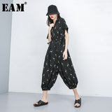 [EAM] 2020 New Spring Summer High Waist Pocket Stitch Pattern Printed Big Size Loose Pants Women Jumpsuit  Fashion Tide JS950