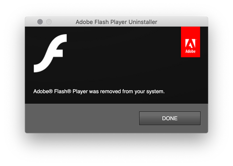 Adobe Flash Uninstall Complete
