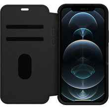 Load image into Gallery viewer, Otterbox Strada Folio Leather Case Black/Pewter for iPhone 12/12 Pro