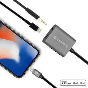 Rockstone 3.5mm Audio + Lightning Charge 2 in 1 Adapter
