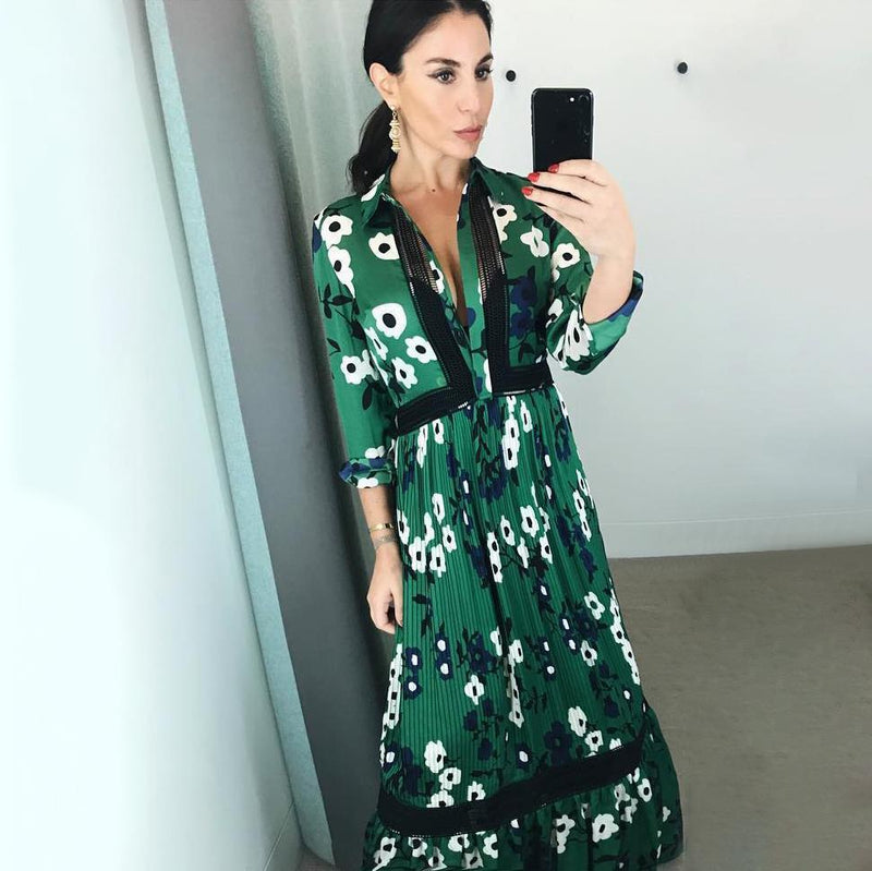 Vistty Green Floral Midi Dress