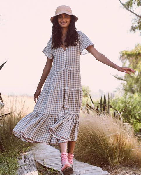 The iris dress in meadow plaid