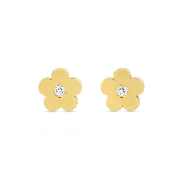 Single Mini daisy stud with diamond