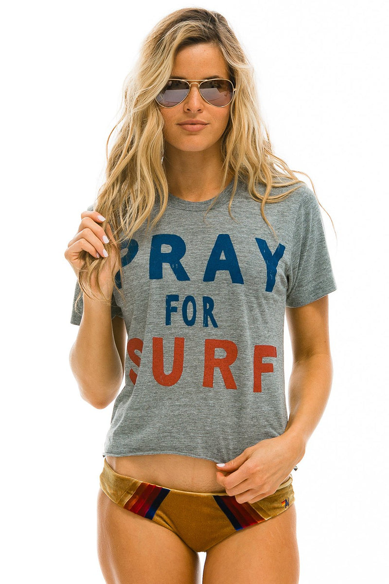 Pray for Surf BOYFRIEND TEE - HEATHER GREY