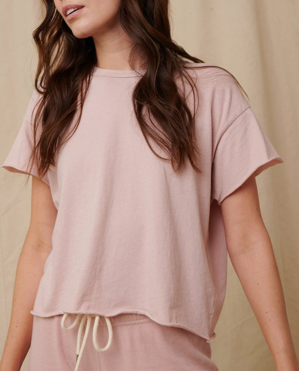 The Crop Tee in Pink Frost