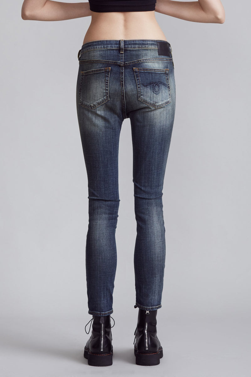 Cross Over Skinny Jean in Vintage Dark Blue