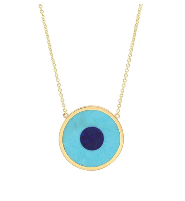Turquoise Inlay Evil Eye Necklace