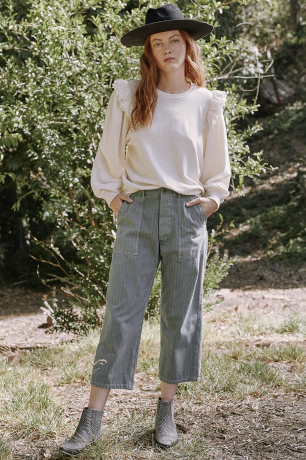 The Eyelet Pleat Sleeve Sweatshirt in Washed White