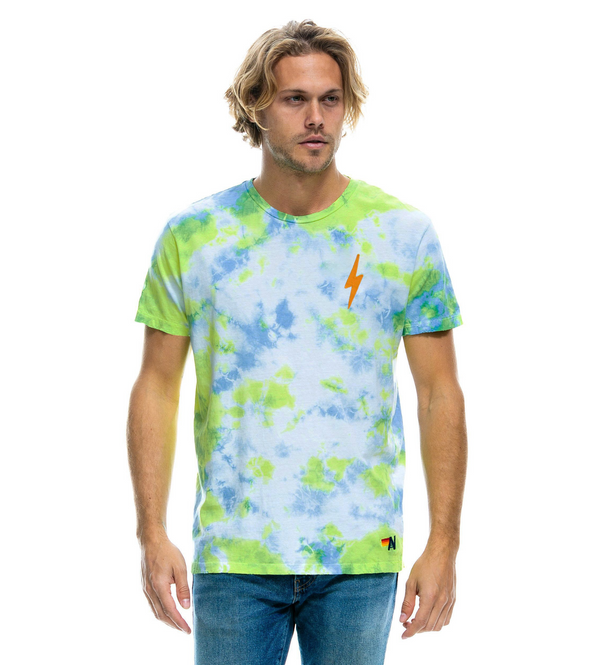 Bolt Embroidery Crew Tee Shirt in Tie Dye Neon Yellow