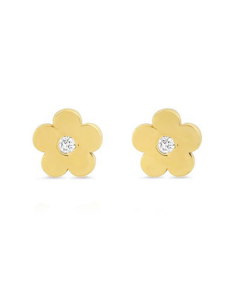Mini Daisy Studs With Diamond Center