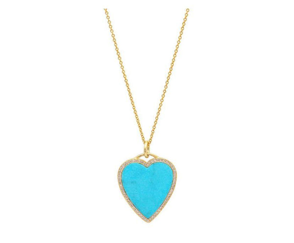 Turquoise & Diamond Heart Necklace
