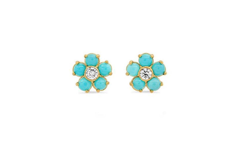 Single Turquoise Flower Stud With Diamond Centre