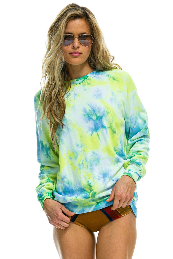 Tie Dye Sweatshirt in Neon Yellow