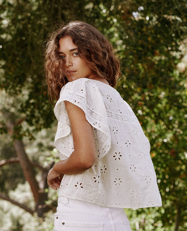 The Eyelet Flounce Top in True White
