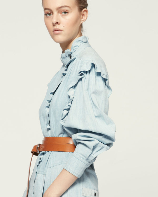Gayle Overall in Light Blue Denim