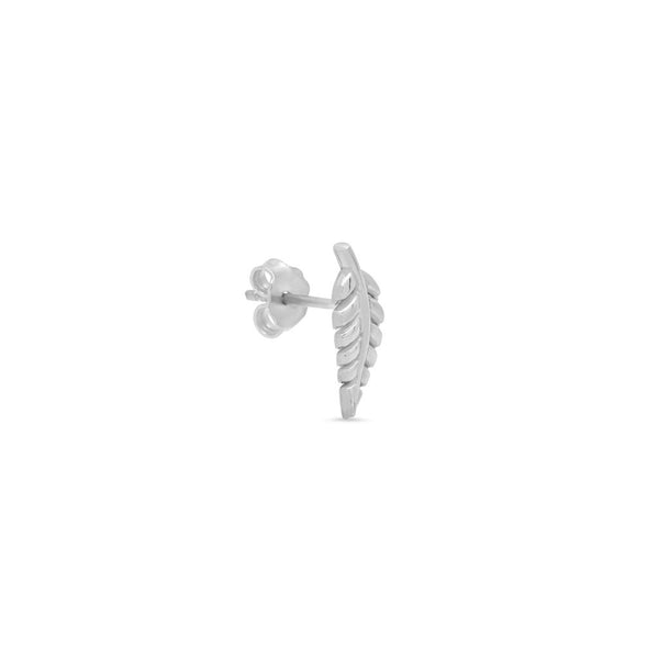 Mini Leaf Stud White Gold