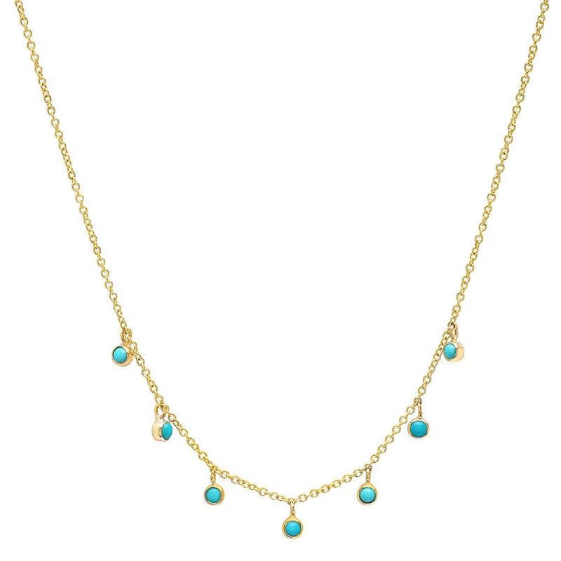 7 MINI TURQUOISE BEZEL DANGLE NECKLACE