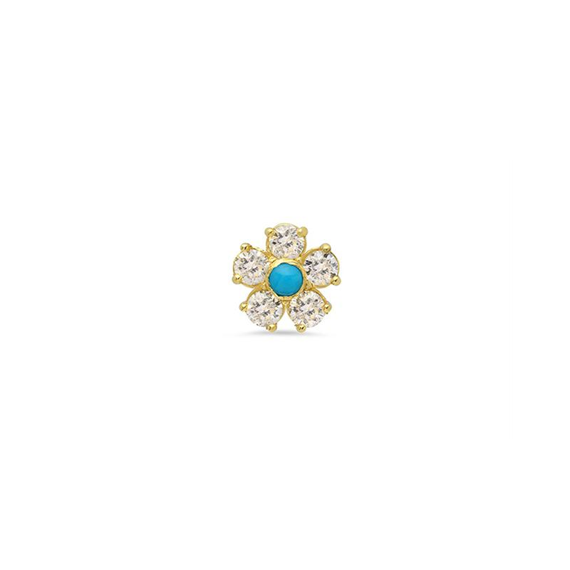 Diamond Flower Stud with turquoise centre