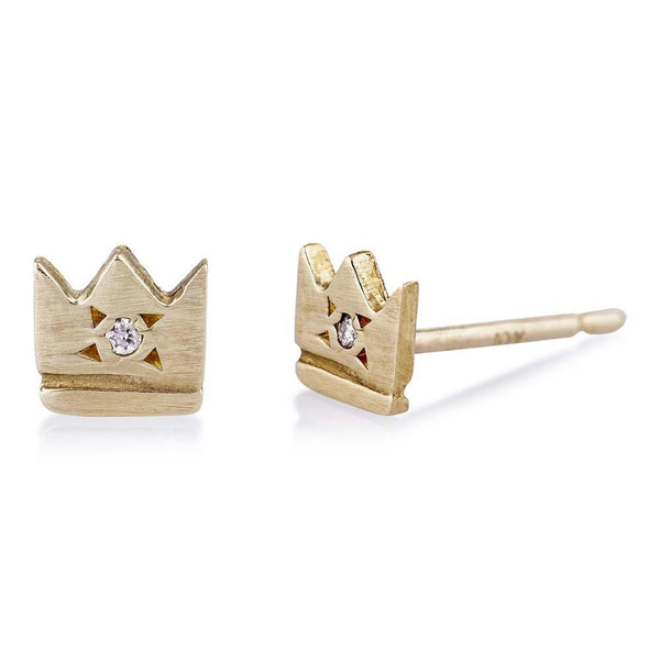 Gold Crown Earrings with Diamond