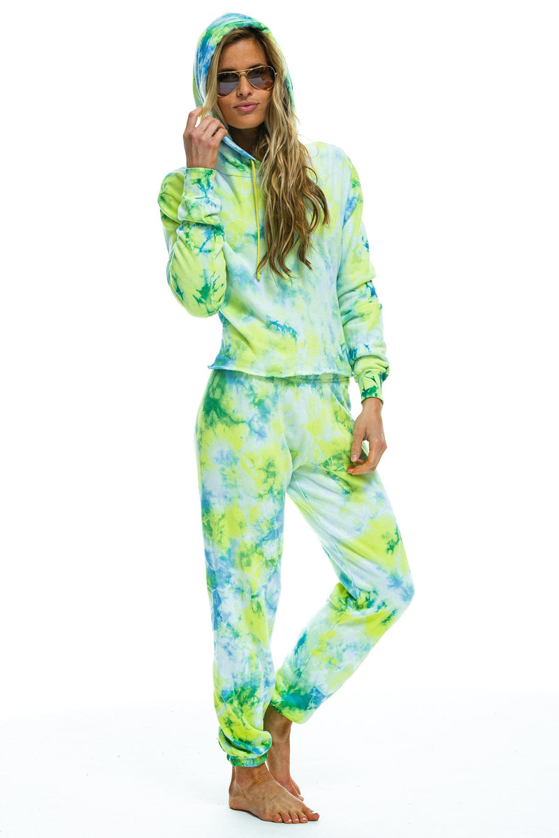 Tie Dye Sweatpant in Neon Yellow