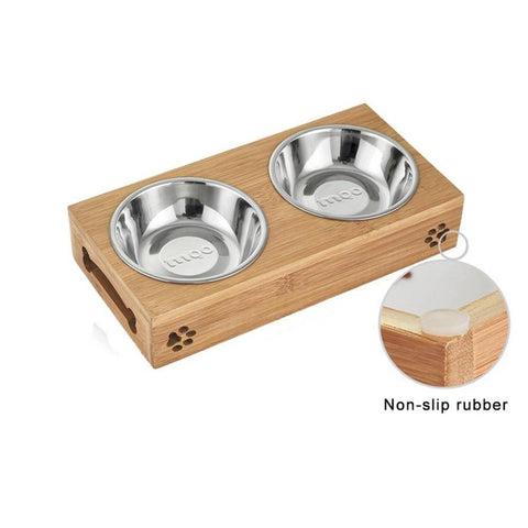 Image of Wooden / Bamboo Dog Bowl Stand