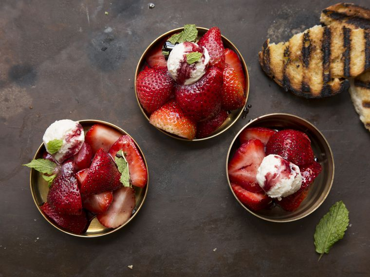 Happy National Strawberry Sundae Day with this Cherry, strawberry and red wine Sundae recipe