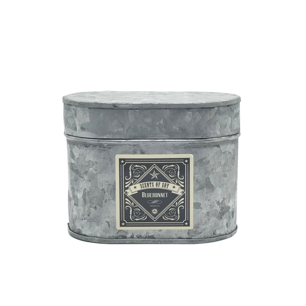 Bluebonnet Galvanized Oval Tin Soy Candle