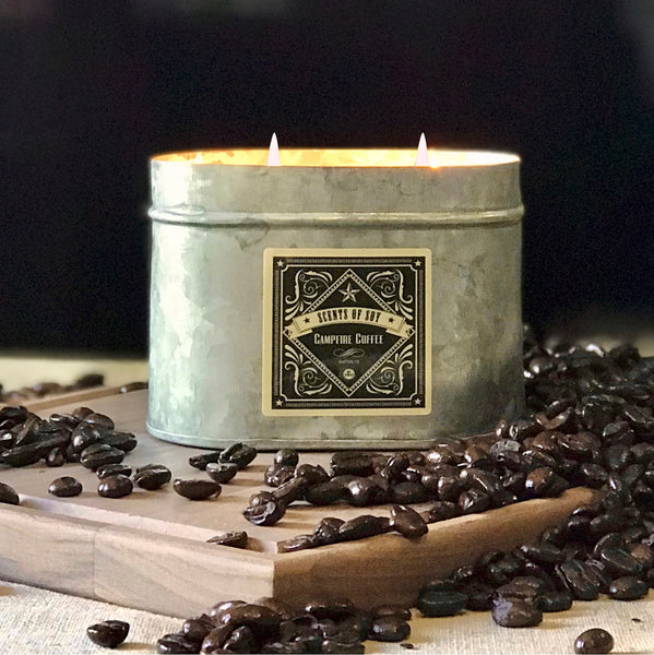 Campfire Coffee Galvanized Oval Tin Soy Candle