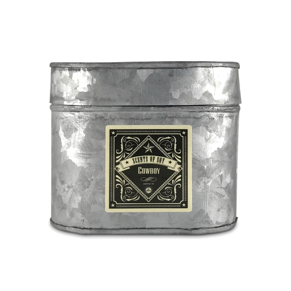 Cowboy Galvanized Oval Tin Soy Candle