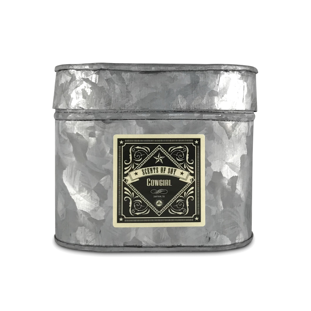 Cowgirl Galvanized Oval Tin Soy Candle