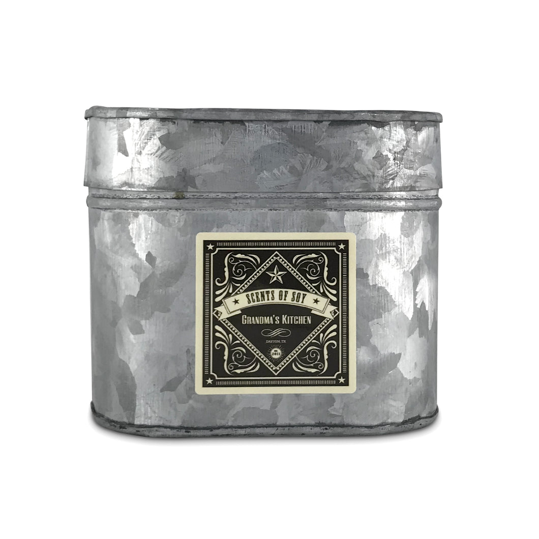 Grandma's Kitchen Galvanized Oval Tin Soy Candle