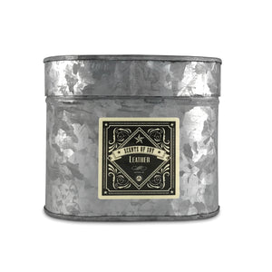 Leather Galvanized Oval Tin Soy Candle