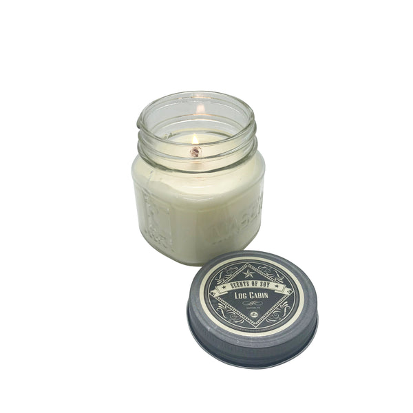 Log Cabin Mason Jar Soy Candle