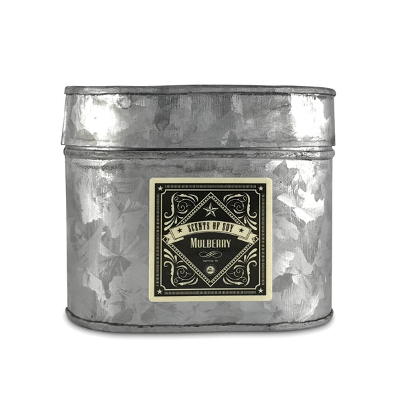 Mulberry Galvanized Oval Tin Soy Candle