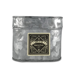 Roasted Peach Galvanized Oval Tin Soy Candle