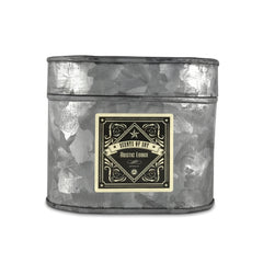 Rustic Lodge Galvanized Oval Tin Soy Candle