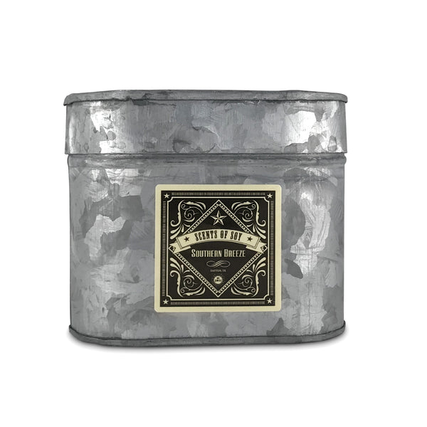 Southern Breeze Galvanized Oval Tin Soy Candle