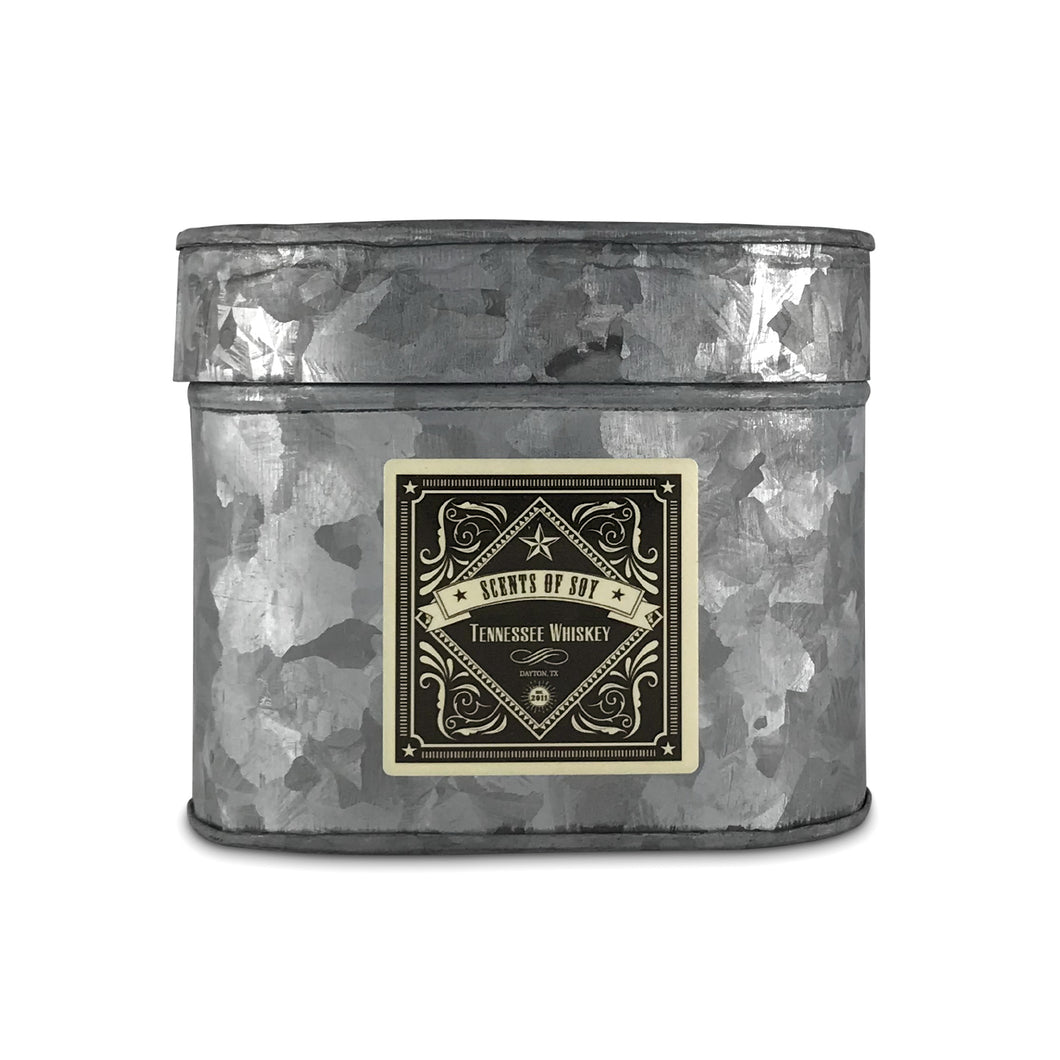 Tennessee Whiskey Galvanized Oval Tin Soy Candle