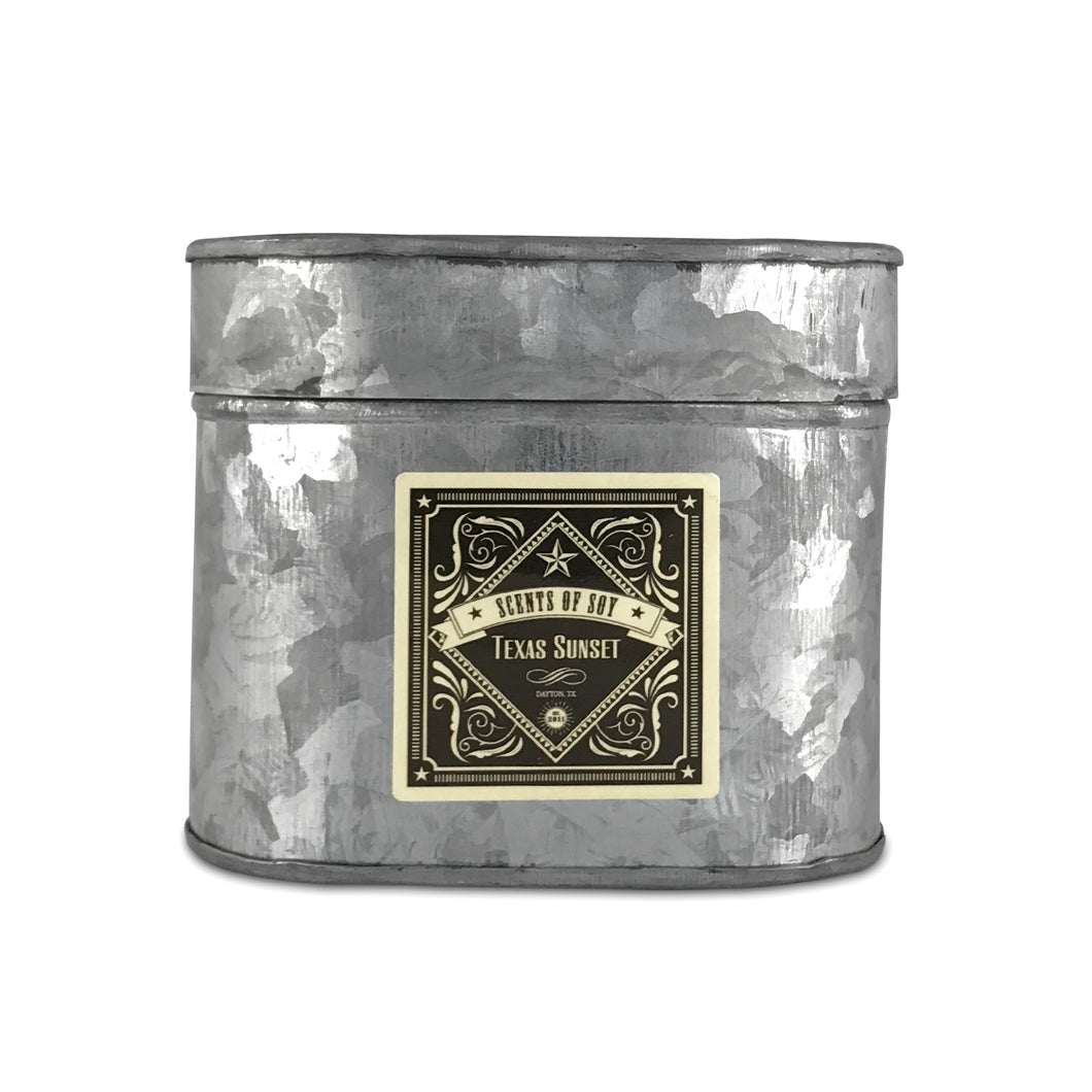 Texas Sunset Galvanized Oval Tin Soy Candle
