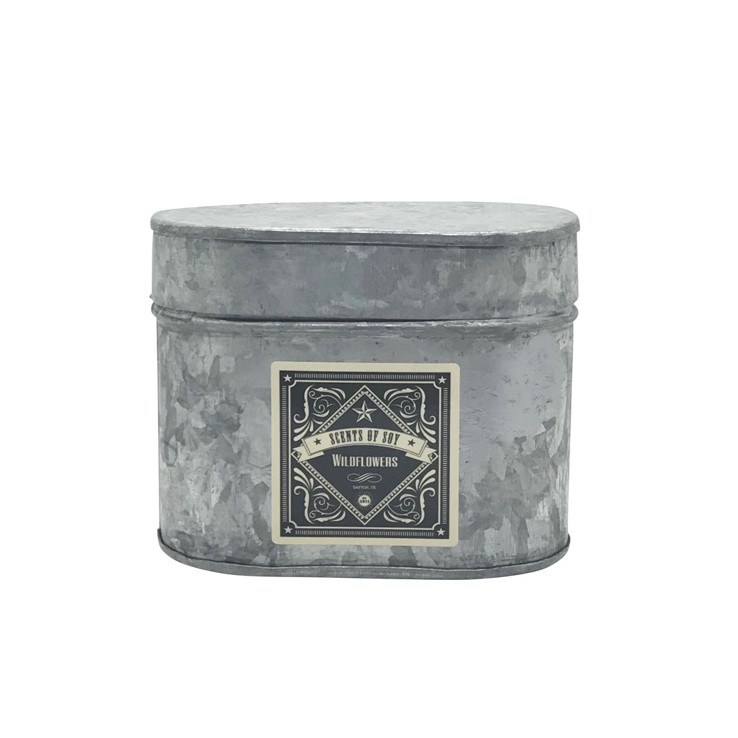 Wildflowers Galvanized Oval Tin Soy Candle