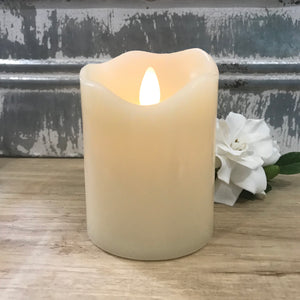 "3"" Round x 4""H Flameless LED Wax Pillar Candle w/ 6 Hour Timer"
