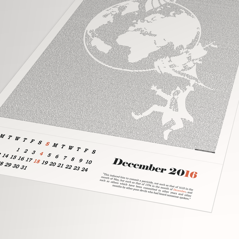 Literary Calendar 2016 by Postertext Single Page
