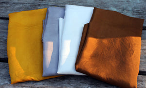 Set of 4 Neutral Color Playsilks ~ Silver Gold Brown White