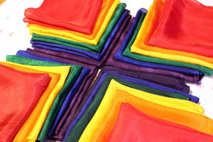 Set of 6 Rainbow Playsilks -Bright & Bold